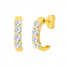 Kolczyki z żółtego 9K złota - półkola z przezroczystymi okrągłymi cyrkoniami
