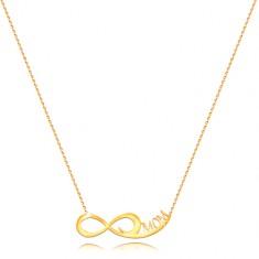 Naszyjnik z żółtego złota 585 - delikatny łańcuszek,  symbol nieskończoności, napis MOM