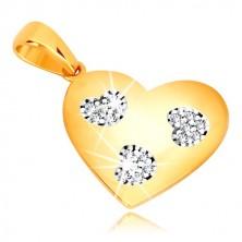 Zawieszka z żółtego złota 585 - symetryczne serce z cięciami w kształcie serca, cyrkonie