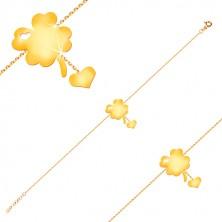 Bransoletka z żółtego 14K złota - symbol szczęścia z wycięciem serca, serce na łańcuszku