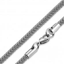 Łańcuszek srebrnego koloru ze stali - motyw siatki, 4,2 mm