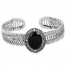 Elastyczna stalowa bransoletka - owalny ornament z czarnym kamieniem, spirala