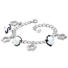 Bransoletka srebrnego koloru - błyszczący łańcuszek, kontury kwiatów, kwiaty z falami