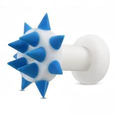 Silikonowy tunel do ucha - niebieskie kolce na kółku i na obwodzie