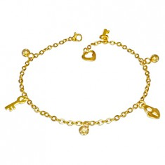Stalowy łańcuszek w złotym kolorze - kulki, zamek i klucz
