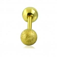 Piercing do tragusu ze stali - gładka i piaskowana kuleczka złotego koloru, 16 mm