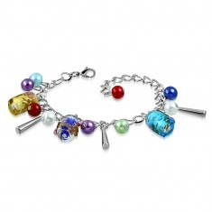 Łańcuszkowa bransoletka i wisiorki - sztuczne perły, kolorowe koraliki z różami