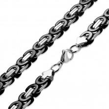 Dwukolorowy łańcuszek ze stali chirurgicznej - motyw bizantyjski, 9 mm