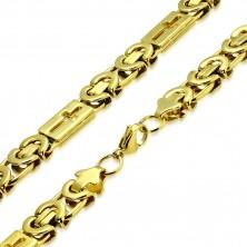 Błyszczący łańcuszek złotego koloru ze stali - wzór bizantyjski, krzyże łacińskie