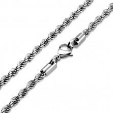 Spiralny łańcuszek ze stali, srebrny kolor, owalne ogniwa, 750 mm