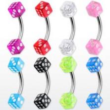 Kolczyk do brwi - kolorowe kostki do gry