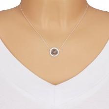 Srebrny 925 naszyjnik - węzeł celtycki, cyrkonie, spiralny łańcuszek