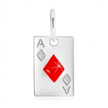 Zawieszka ze srebra 925 - motyw karty do gry, as karo i czerwona emalia