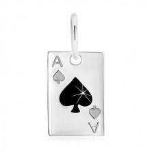 Srebrna zawieszka 925 - karta do gry, as pik z czarną emalią