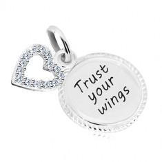 """Srebrna 925 zawieszka - kółko z napisem """"Trust your wings"""", kontur serca z cyrkoniami"""