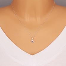 Srebrny wisiorek 925 - regularne serce i błyszczący cyrkoniowy kontur