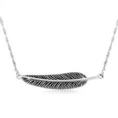 Srebrny naszyjnik 925 - spiralny łańcuszek i patynowane pióro