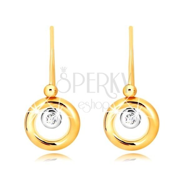 Kolczyki z 9K złota - okrąg z żółtego złota, oprawa z białego złota i cyrkonia