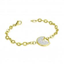 Bransoletka złotego koloru ze stali - dekoracyjny okrąg z wycięciem, przezroczyste błyszczące cyrkonie