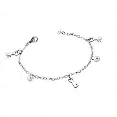 Bransoletka srebrnego koloru ze stali chirurgicznej - lustrzano lśniące kuleczki i klucze