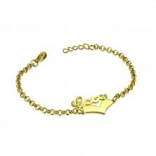 """Stalowa bransoletka złotego koloru - symetryczne serce i napis """"Love"""", łańcuszek z okrągłych oczek"""