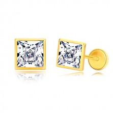 Kolczyki z żółtego złota 585 - błyszczący cyrkoniowy kwadrat w lśniącej oprawie, 6 mm