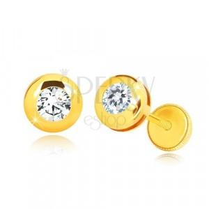 Kolczyki z żółtego 14K złota - lustrzano lśniące kółko z przezroczystą cyrkonią