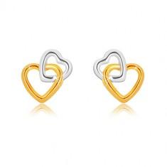 Kolczyki z kombinowanego 9K złota - połączone kontury serc, sztyfty