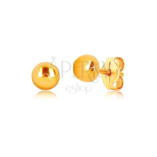 Kolczyki z 9K żółtego złota - kółko z lustrzano lśniącą powierzchnią, wkręty