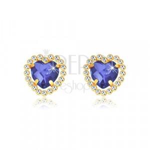 Kolczyki z żółtego złota 375 - szafirowo-niebieskie cyrkoniowe serce z przezroczystym brzegiem