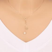 Złoty 9K naszyjnik - kółko, lustrzano lśniąca kuleczka i perła na łańcuszku