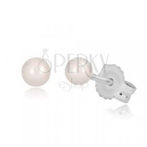Kolczyki wkrętki wykonane z białego 14K złota - okrągła perła w białym odcieniu