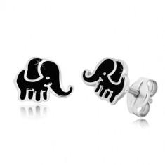 Kolczyki ze srebra 925 - słonik z emalią w kolorze czarnym