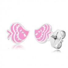 Kolczyki z motywem zwierzęcym - ryba z emalią różowego koloru, srebro 925