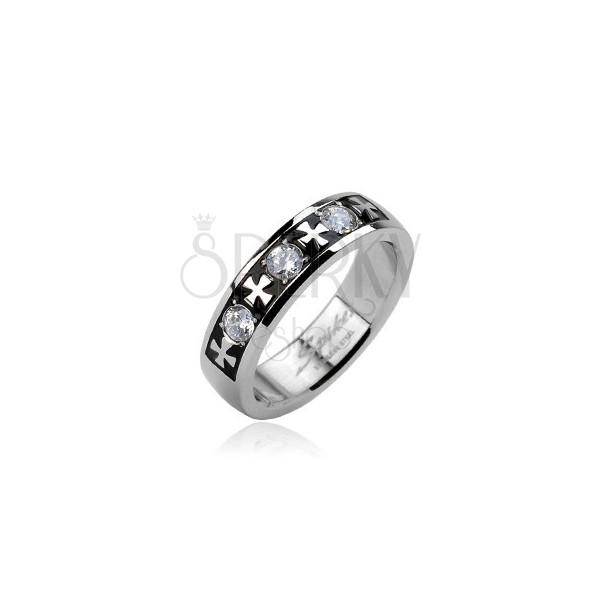 Stalowy pierścionek - trzy cyrkonie i krzyże