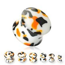 Plug do ucha biały czarne, pomarańczowe plamki