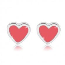 Kolczyki sztyfty - symetryczne serce z różową emalią, srebro 925