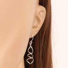 Srebrne kolczyki 925 - lustrzano lśniąca spirala, dwie splecione linie