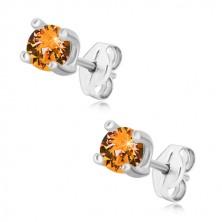 Srebrne kolczyki 925 - okrągła cyrkonia w miodowo-pomarańczowym odcieniu, kwadratowy koszyczek
