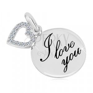 """Zawieszka ze srebra 925 - błyszczący okrąg z napisem """"I love you"""", zarys serca z cyrkoniami"""