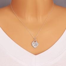 """Srebrny 925 wisiorek - zamek w kształcie serca, delikatnie grawerowany napis """"I love you"""""""