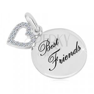 """Srebrny wisiorek 925 - błyszczący okrąg, napis """"Best Friends"""", kontur serca z cyrkoniami"""