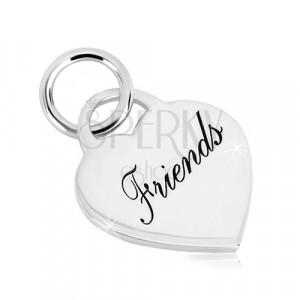 """Srebrny 925 wisiorek - zamek w kształcie serca z napisem""""Friends"""", lustrzano lśniąca powierzchnia"""