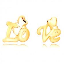 """Kolczyki z 9K żółtego złota - podzielony napis """"Love"""", nieregularne serca, sztyfty"""