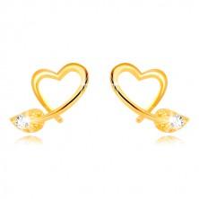 Kolczyki z żółtego 9K złota - kontur nieregularnego serca, liść z cyrkonią