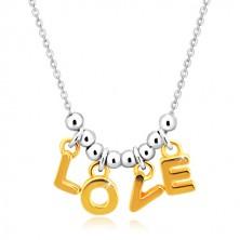 """Naszyjnik ze srebra 925 - łańcuszek, litery """"L-O-V-E"""" w złotym odcieniu i kulki"""
