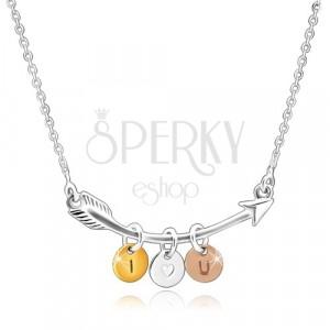 """Srebrny 925 naszyjnik - zakrzywiona strzała, trójkolorowe pierścienie """"I HEART YOU"""""""