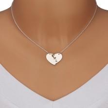 Naszyjnik ze srebra 925 - złamane serce zszyte trzema szwami, lustrzano lśniąca powierzchnia