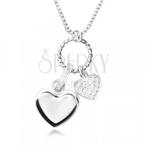 Naszyjnik ze srebra 925 - lśniący łańcuszek o kwadratowych oczkach, zawieszka multi, serca