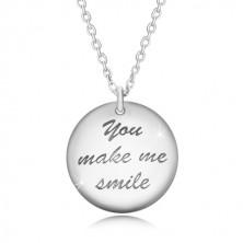 """Srebrny 925 naszyjnik - dwa wypukłe koła, napis """"You make me smile"""", buźka"""